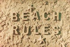 Règles de plage Photographie stock libre de droits
