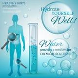 Réactions chimiques de l'eau Images libres de droits