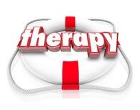 Réadaptation médicale de soins de santé de conservateur de vie de Word de thérapie Photographie stock