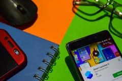Réalisateur futé APP du lanceur 5 sur l'écran de Smartphone photographie stock libre de droits