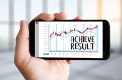 RÉALISEZ la boussole de RÉSULTAT, l'homme d'affaires Results et les attentes, Photo stock