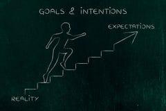 Réalité ou attentes, métaphore s'élevante d'escaliers d'homme illustration stock