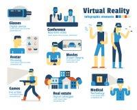 Réalité virtuelle, éléments infographic illustration libre de droits
