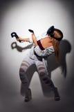 Réalité virtuelle de jeu de femme Images stock