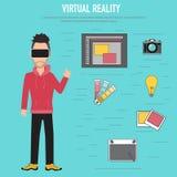 Réalité virtuelle Les technologies pour l'équipe créative et d'idée illustration libre de droits