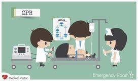 Réanimation cardio-respiratoire de CPR dans la chambre de secours illustration de vecteur