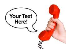 Récepteur téléphonique à disposition et bulle de la parole photo libre de droits