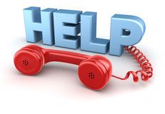 Récepteur téléphonique et aide. sur le blanc. Photo stock