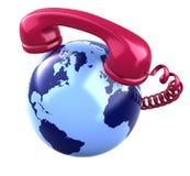 Récepteur téléphonique et globe de la terre. Image libre de droits