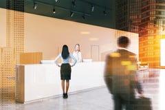Réception blanche dans le bureau orange, les gens illustration de vecteur