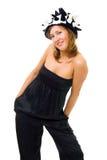 réception de chapeau posant la femme Image stock