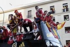 Réception de l'équipe de football nationale de l'Espagne dans la coupe du monde Afrique du Sud 2010. Photo stock
