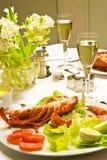 Réception de langoustine Image libre de droits
