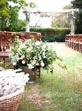 Réception de mariage à un lieu de rendez-vous extérieur Images stock