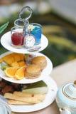Réception de thé Le temps de thé a servi pendant le matin avec la sorte différente de photographie stock