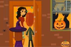 Réception de Veille de la toussaint Les enfants rassemblent la sucrerie Nuit des morts Tour ou festin 31 octobre illustration de vecteur