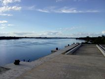 Réception des marchandises du port fluvial photo libre de droits