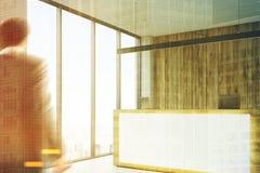 Réception en bois, plan rapproché de lieu de réunion modifié la tonalité Photographie stock