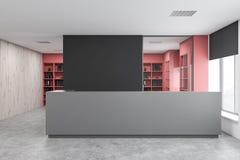 Réception grise dans le bureau noir et en bois illustration libre de droits
