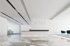 Réception intérieure, blanche et noire de bureau blanc Images libres de droits