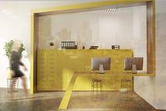 Réception jaune de salle d'attente de bureau, femme Photos stock