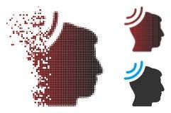 Réception par radio tramée réduite en fragments Brain Icon de pixel Photographie stock libre de droits