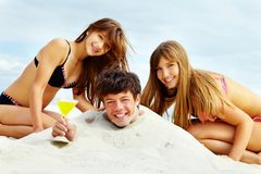 Réception sur le sable Photo stock