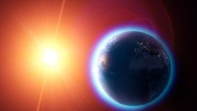 Réchauffement global et changement climatique, vue satellite de la terre et le soleil L'espace et étoiles l'atmosphère, trou d'oz images stock