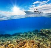 Récif coralien sous-marin avec de l'eau l'horizon et Image stock