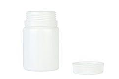 Récipient blanc ouvert de pilules - d'isolement photographie stock libre de droits