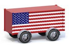 Récipient d'expédition de drapeau américain avec des roues Photo stock