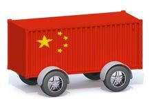 Récipient d'expédition de drapeau de la Chine avec des roues Photos stock