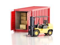 récipient de cargaison 3d avec des boîtes de chariot élévateur et de carboard Photos libres de droits