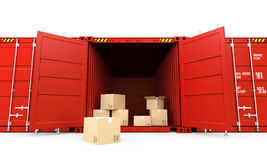 Récipient de cargaison rouge ouvert avec des boîtes en carton Image libre de droits