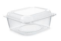 Récipient de nourriture en plastique transparent vide image stock
