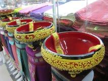 récipient en bois décoré de style du Laotiens Photos stock
