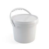 Récipient en plastique de seau de peinture fermée blanche avec la poignée en plastique Photographie stock