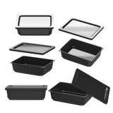 Récipient en plastique noir de rectangle pour la production alimentaire avec le clipp Image stock