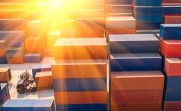 Récipient, navire porte-conteneurs dans les importations-exportations et affaires logistiques, Photo libre de droits