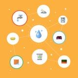 Récipient plat de déchets d'icônes, Aqua, gant de toilette et d'autres éléments de vecteur L'ensemble de symboles plats d'icônes  Photos libres de droits