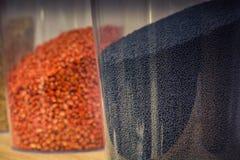 Récipients avec les graines gravées à l'eau-forte de la graine de colza et du maïs image stock