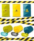 Récipients avec les substances explosives et réactives, gaspillage d'industrie chimique Écoulement des produits chimiques toxique Images libres de droits