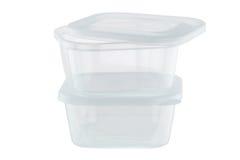 Récipients d'entreposage en plastique transparents de nourriture d'isolement sur le Ba blanc Image stock