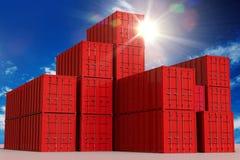 Récipients de cargaison rouges illustration libre de droits