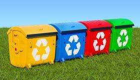 Récipients de déchets dans l'herbe verte contre le ciel bleu, rendu 3d illustration stock
