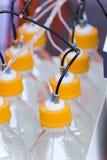 Récipients en plastique avec des membres de leurs tubes minces Photos stock