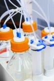 Récipients en plastique avec des membres de leurs tubes minces Photo stock