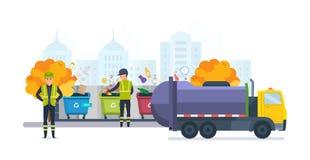 Récipients pour des déchets de différents types, sur la ville de rue d'automne Images libres de droits