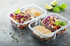 Récipients sains de préparation de repas avec le quinoa et le poulet image libre de droits