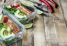 Récipients sains de préparation de repas avec le rukola, le gril de dinde, les tomates et l'avocat photo stock
